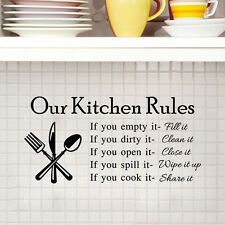 """Kitchen Rules"" Mural Quote Removable Wall Stickers Art Decal Kitchen Home Decor"