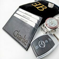 engraved black wallet id cardholder mens soft leather dad grandad boyfriend gift