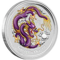 Perth Mint Australia Purple Coloured Colourised Dragon 2012 1 oz 999 Silver Coin