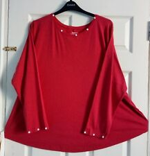 EVANS PLUS SIZE 22 24 CHRISTMAS RED SHIRT LONG SLEEVE STRETCHY CURVED HEM TOP