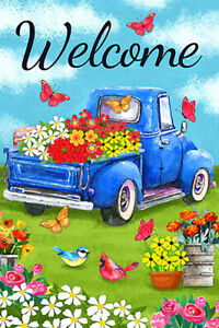 Morigins Welcome Flower Old Blue Truck Spring Daisy Double Sided Garden Flag