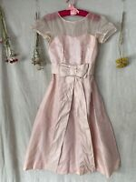 Vintage 1950's Marshall Fields Pale Pink Prom Dress Large Bow AS IS