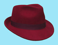 Trilby Fedora Burgundy Red Wine 100% Wool Hat