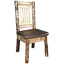 Upholstered Log Dining Chairs Amish Rustic Dining Room Furniture Padded Seats