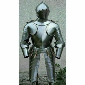 Medieval 18 gauge Steel Trooper Half Body Armour Cuirass Helmet & jacket replica
