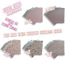 50 Pink Theme Poly Mailers Mix Size Variety Pack (10 ea) 6x9, 9x12 & 14x17