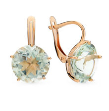 Earrings NEW Russian Solid Rose Gold 14K fine jewelry green stone amethyst 4.22