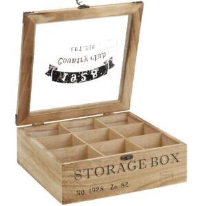Teebox Teekiste Holz Teekiste 9 Fächer Teedose BOX Teebeutel Box Dose HZ860