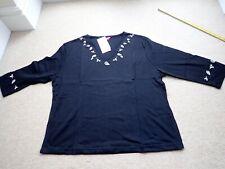 Women's For Women Black T Shirt top Size  24 UK NCC