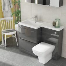 Modern Pemberton Grey Bathroom 2 Draw LH Vanity Basin Unit with Toilet and Sink