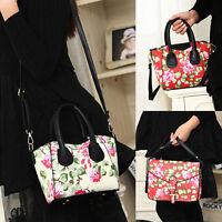 Women Handbag Shoulder Bag Flower Print Leather Tote Floral Crossbody Bgas Purse