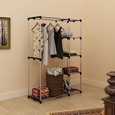 Portable Closet Organizer Storage Clothes Hanger Garment Rack Shelf Rail Durable