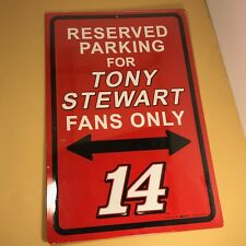 TONY STEWART NASCAR SIGN RESERVED PARKING RED BLACK FANS #14 NEW SEALED RACING