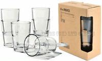 Set of 6 New IKEA Reko Juice Glasses 17cl Clear Glass Tumblers / Drinks Cups