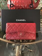100% Authentic Chanel Red Caviar Quilted Flap Long Wallet
