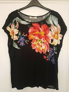 Oasis black floral top Large Brand New With Label