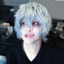 My Boku no Hero Academia Tomura Shigaraki Short Grey Blue Cosplay Hair Wig + Cap