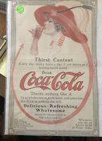 1909 COCA COLA COKE RED HAT ARROW WOMAN SEXY SODA BEVERAGE POP VINTAGE AD