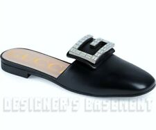 d604fc967 GUCCI black 36.5 leather MADELYN large Crystal G Flat Mule shoes NWT Authen  $850