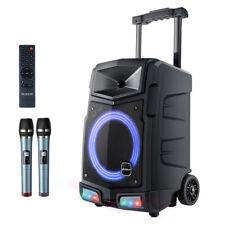 Mobile PA Anlage Karaoke Lautsprecher Akku Box Mikrofon USB SD Bluetooth 500W