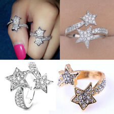 Fashion Star Shape Crystal Opening Finger Ring Adjustable Women Girl Jewelry