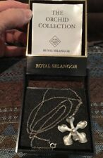 Vintage Pewter Orchid Necklace With Pamphlet And Original Box Malaysia