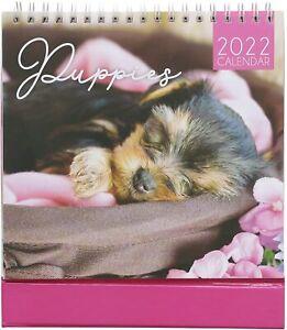 2022 SPIRAL BOUND WIRO FLIP DESK TOP CALENDAR DOG GIFT CHRISTMAS - CUTE PUPPIES