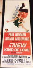 A NEW KIND OF LOVE! '63 NEWMAN, WOODWARD RARE ORIGINAL U.S. INSERT FILM POSTER!