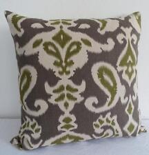 Beautiful Greens Paisley Ikat Cotton Cushion Cover 45cm