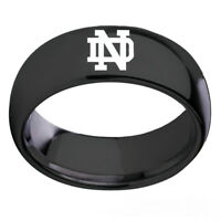 University of Notre Dame Stainless Steel Silver Black Rings Band Sz 6-13