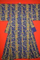 Vintage Japanese Silk Antique BORO KIMONO Kusakizome Dyde Textile/XL09/945