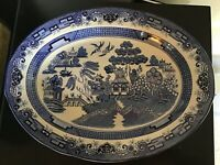 Vintage Antique style Blue willow pattern very large meat plate