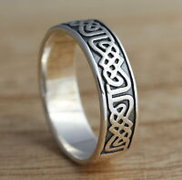Solid 925 Sterling Silver Celtic Knot Oxidized Band/Thumb Ring M-Z+1 Sizes 6.5mm