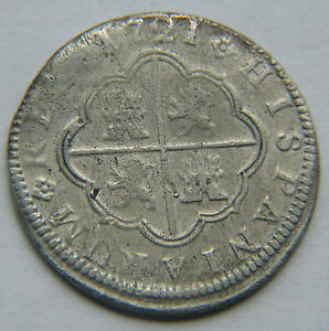 1721 CA JJ Cuenca Spain Spanish 2 Reales Silver Coin Philippus