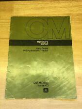 1972 John Deere 140 Hydrostatic Lawn Garden Tractor Operating Manual