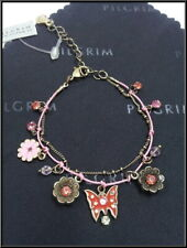 NEW PILGRIM GOLD PLATED CHAIN BRACELET RED CRYSTALS PINK FLOWER ENAMEL BUTTERFLY