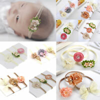 Chic 3Pcs Baby Girls Infant Toddler Flower Bow Headband Hair Band Accessories