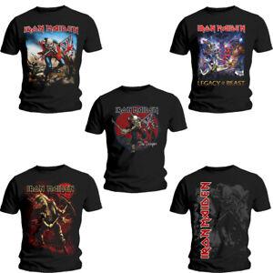 Official Iron Maiden Eddie the Head Album Cover Rock Band Black Mens T-shirt