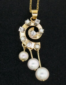 "Vintage 14K Yellow Gold Round Pearl & .20ctw Diamond Spiral 16"" Pendant Necklace"