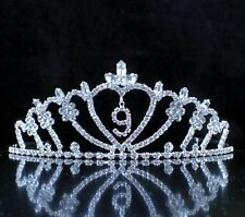 Nine-Year-Old Rhinestone Tiara Crown W/ Hair Combs Girl 9th Birthday Party T823
