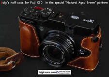 LUIGI CASE for FUJI X20-X10,+12mm STRAP,BLACK, ONATURAL AGED BROWN,LOWERED,ENDED