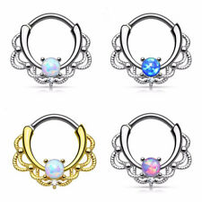 Newly Titanium Opal Nose Septum Ring Nose Hoop Ring Beauty Lacey Rings Clicker