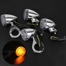 4x Chrome Front Rear LED Turn Signal Light w/41mm Fork Fit For Harley Sportster