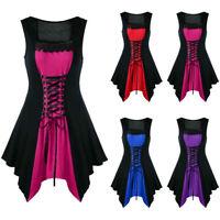 Ladies Punk Gothic Sleeveless Lace Up Corset Dress Retro Midi Sundress Plus Size