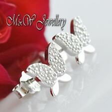 Solid 925 Silver Rhodium Plated BUTTERFLY Stud Earrings Clear Cubic Zirconia