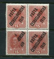 Czechoslovakia Austria 1919 Overprint Block of 4. Omitted part overprint 4945