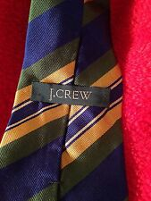J Crew Necktie Blue Yellow Striped Silk