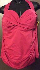 Miraclesuit Tankini 2 Pc. Swimsuit Sz. 24W Bandeau Halter Style Merlot & Black