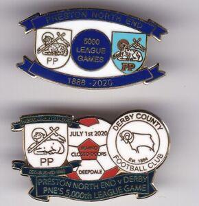 2 x PRESTON PNE v DERBY 5000 LEAGUE GAME ENGLAND FOOTBALL BADGE JOB LOT BULK BUY