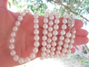 7.5mm Akoya White Pearl Necklace Silver925 sep N72